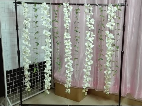 How To DIY Hanging Orchid Flowers Backdrop ( Tutorial )