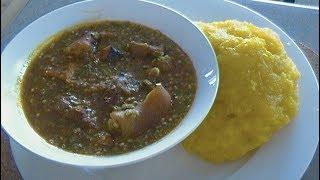 "Okra Soup with Gari ""Plain"" Cameroonian Cuisine"