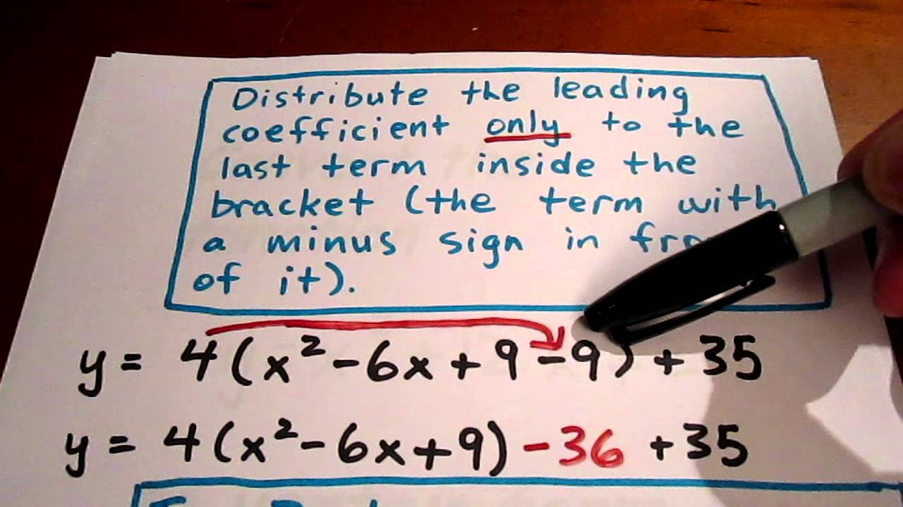Converting to vertex form by completing the square youtube falaconquin