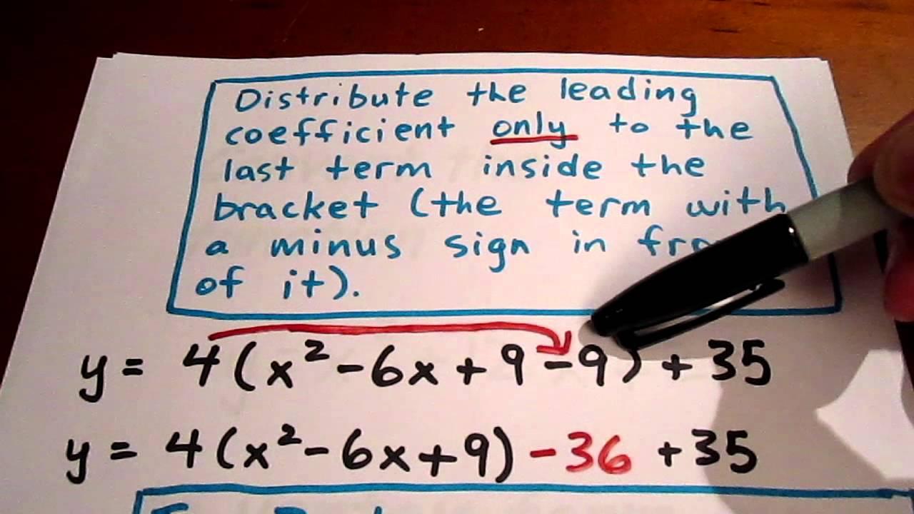convert vertex form to standard form