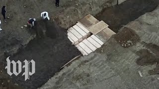 Aerial video appears to show burials of unclaimed covid-19 victims and others on Hart Island
