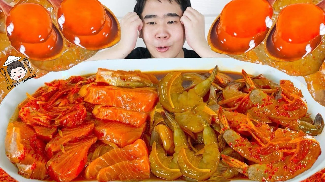 ทะเลดองซีอิ๊วเกาหลี 3 กิโล แซลมอนดอง กุ้งดอง ไข่ดองซีอิ๊วเกาหลี อร่อยมากกกก | ดมข้าว