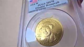 2014 W 10ドル金貨 エレノア・ルーズベルト  PCGS MS70 ファーストストライク