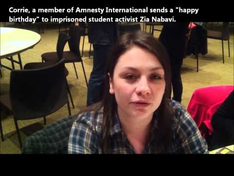 Member of Amnesty International sends birthday message to student activist imprisoned in Iran