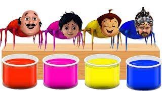 Motu Patlu Bahubali Chhota Bheem Shiva Head Spider Bathing Colors Fun l l Colors for Children