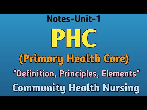"""Download Notes-PHC(Primary Health Care) ,""""Definition,Principles, Elements"""", Community Health Nursing,Unit-1"""