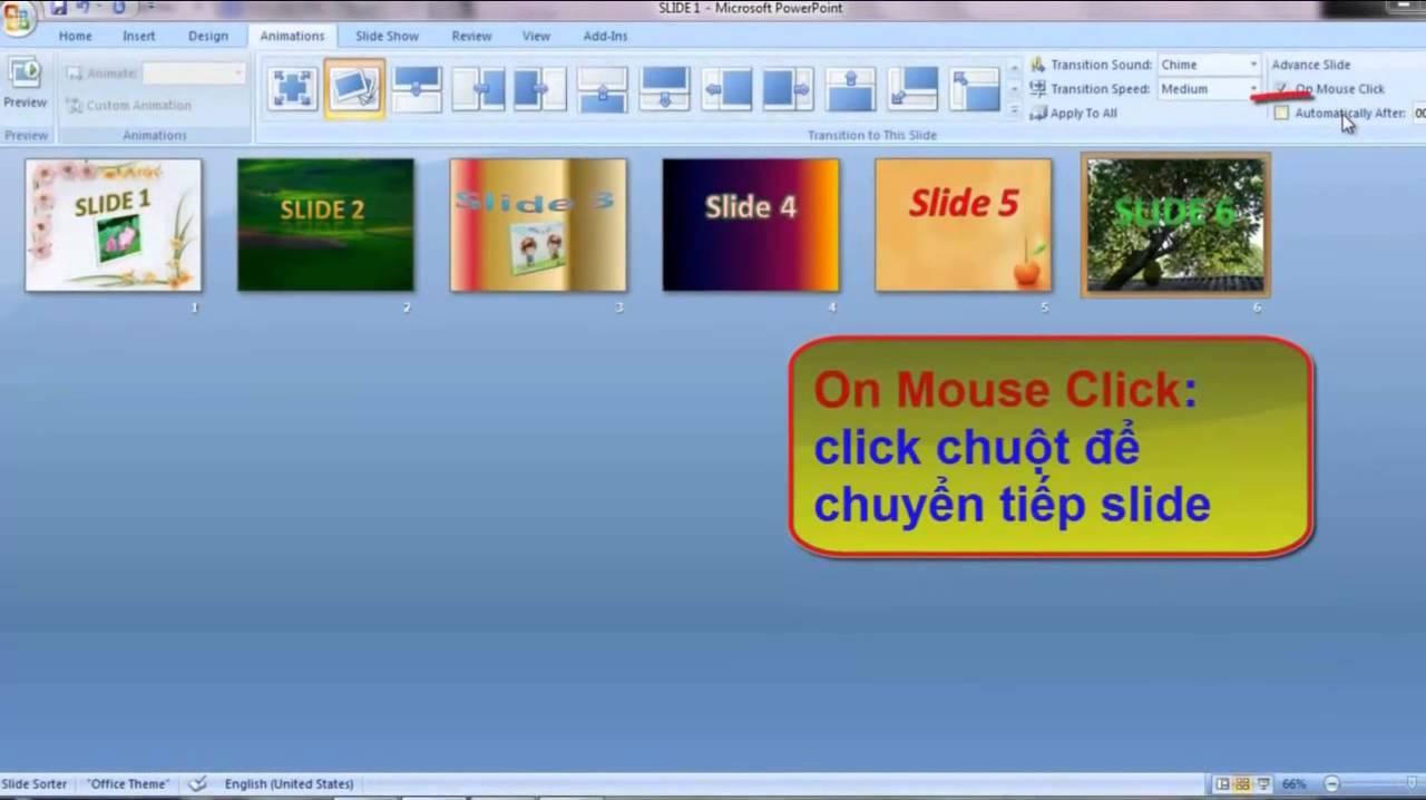 Chèn hình ảnh vào slide và tạo hiệu ứng chuyển tiếp slide PowerPoint 2007