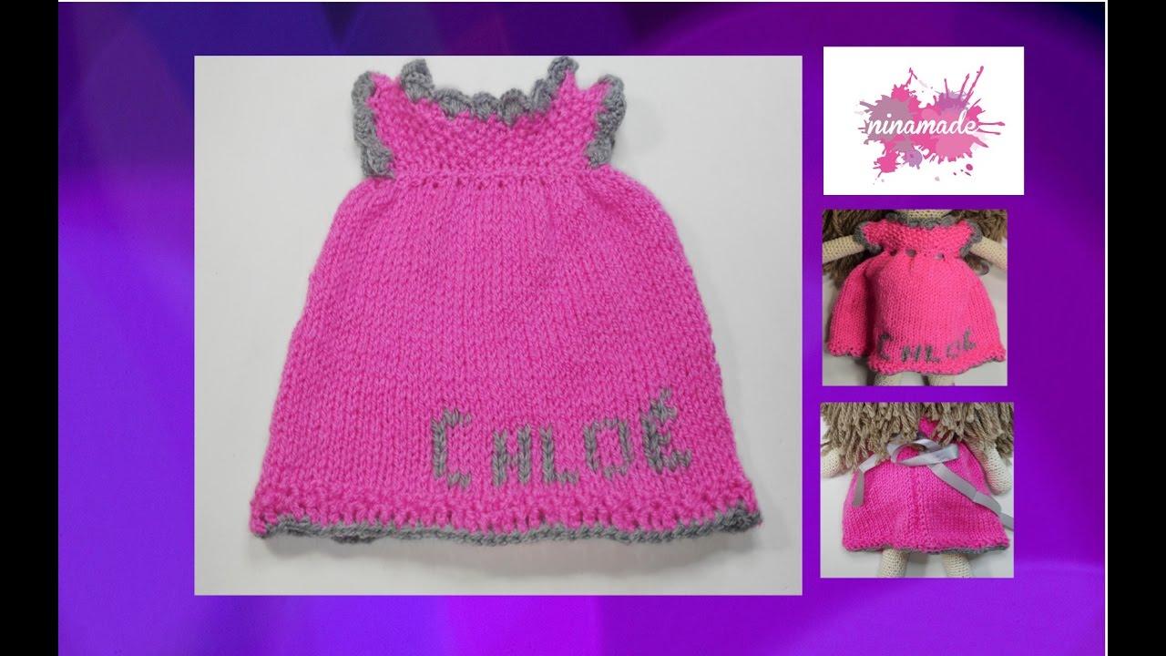 dc5eed25e6943 DIY. Robe Pour Poupée Au Tricot    How To Knit A Doll Dress. - YouTube