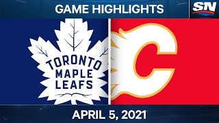 NHL Game Highlights | Maple Leafs vs. Flames - Apr. 5, 2021