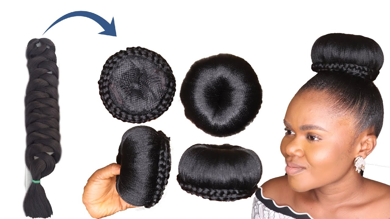 Download DIY Natural Bun Hairstyle Using Expresion Braid Extension - Easy And Quick Wig Style