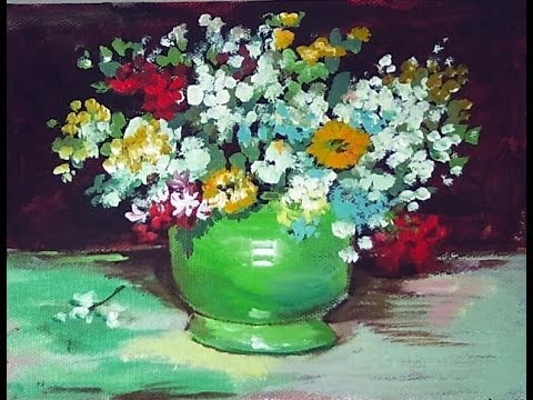 How To Paint A Van Gogh Vase With Zinnias And Flowers 60 Min