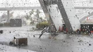Typhoon Jebi in Japan,  floods, storm surge high waves, strong winds, storm damage,