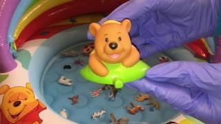 Животные в бассейне. Учим названия животных.