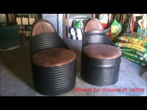 r alisation de fauteuils style industriel en barils m talliques youtube. Black Bedroom Furniture Sets. Home Design Ideas