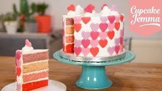 Valentine's Day OMBRÉ Heart Cake | Cupcake Jemma