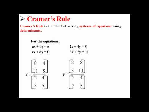 cramer s rule a method for solving Cramer's rule for systems in two variables the gaussian elimination method of section 44 can be performed the same way on every system another method that is applied the same way for every system is.