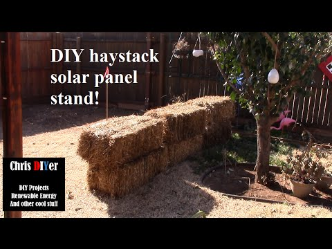 DIY makeshift haystack solar panel stand. Why not?