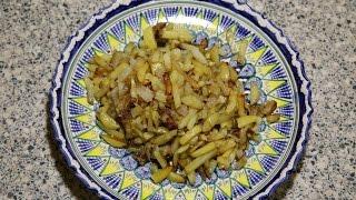 Жареная картошка на свином солёном сале в казане.