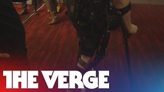 Exoskeleton demo at CES 2014: Ekso Bionics helps Paul Thacker walk again