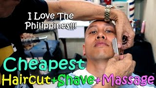 THE CHEAPEST HAIRCUT + SHAVE + MASSAGE EVER! (Philippines) | April 3rd, 2017 | Vlog #73