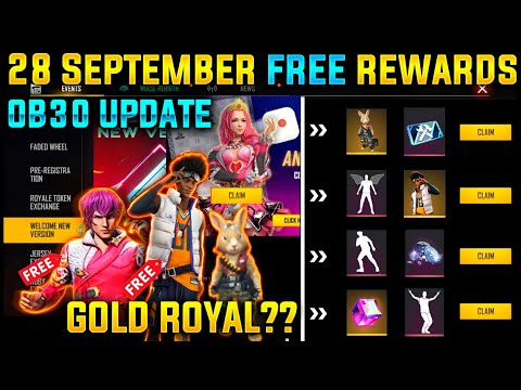 FREE Rewards 28 September in Free Fire |28 September Updates Free Fire |OB 30 Update Free Fire |