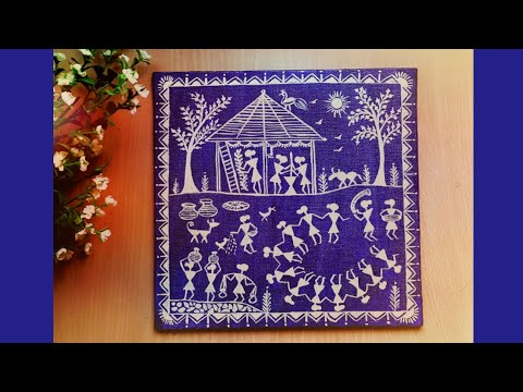Easy warli painting on canvas | easy home decor ideas  | warli art | colours Creativity Space