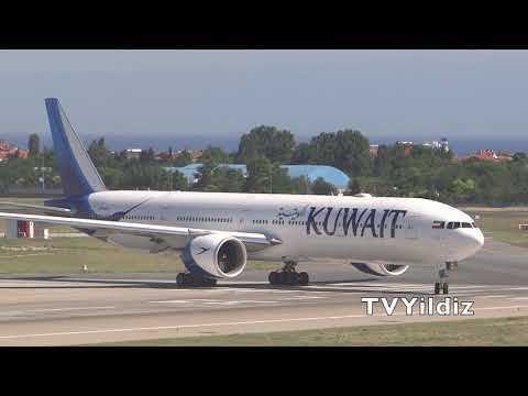 Kuwait Airways Boeing B777-300ER fast Take-off at Istanbul Atatürk Airport