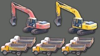Construction Vehicles - Truck Videos For Kids, Heavy Equipment Excavator Monster Truck Videos