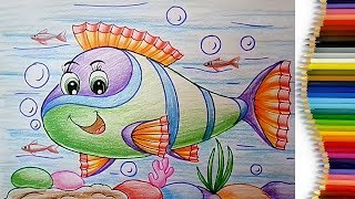 How to Draw an Aquarium Fish Easy Step by Step - Learn Drawing for Children Kids Beginners