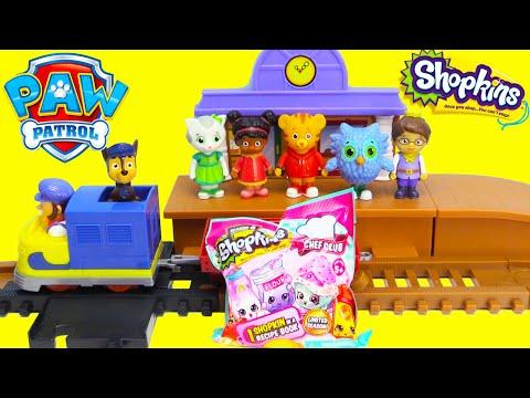 Paw Patrol and Daniel the Tiger Train Station Surprises Shopkins Season 6