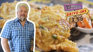 Guy Fieri Eats Some DYNAMITE Indonesian Tempeh Fritters | Diners, Drive-Ins and Dives | Food Network