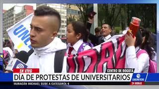 Así avanzan las marchas de estudiantes y docentes en Bogotá