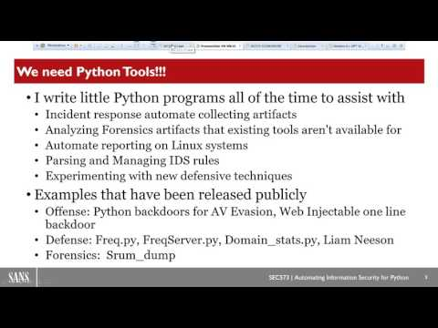 SANS Webcast: Automating Information Security with Python