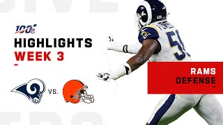 The rams defense stops baker mayfield and browns on goal line for win. los angeles take cleveland during week 3 of 201...