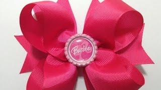 Moño boutique   color rosa de Barbie VIDEO No. 344(Haremos un moño de Barbie, aun sin contar con listón de personaje con solo listón gros y un centro que te mostrare como elaborar. MATERIAL: 2 listones de 4 ..., 2016-08-14T07:54:10.000Z)