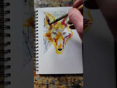 Coyote in mixed media: collage, watercolor, ink drawing.