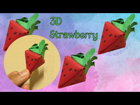 DIY 3D Strawberry_Easy Paper Box Shaped Strawberry For Kids_Miniature Crafts