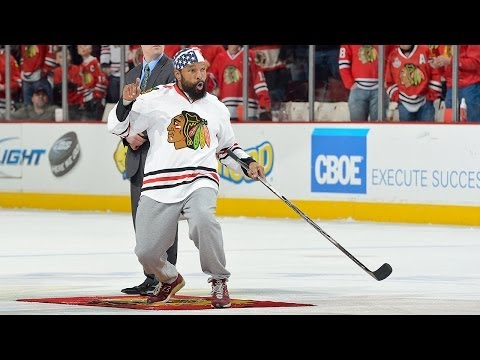 Mr.T looks sinks a center ice shot at the Chicago Blackhawks game