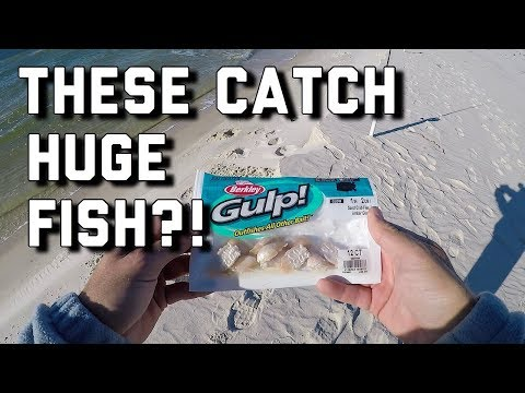 HUGE Redfish On Gulp Sandfleas!! - Surf Fishing Alabama Gulf Coast