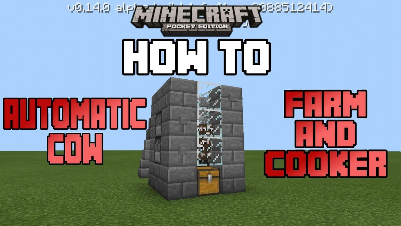 How To Make An Automatic Cow Farm And Cooker In Mcpe Minecraft Pe Mcpe How To 24 Youtube