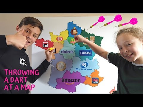 THROWING A DART AT A MAP AND BUYING WHATEVER IT LANDS ON CHALLENGE!!