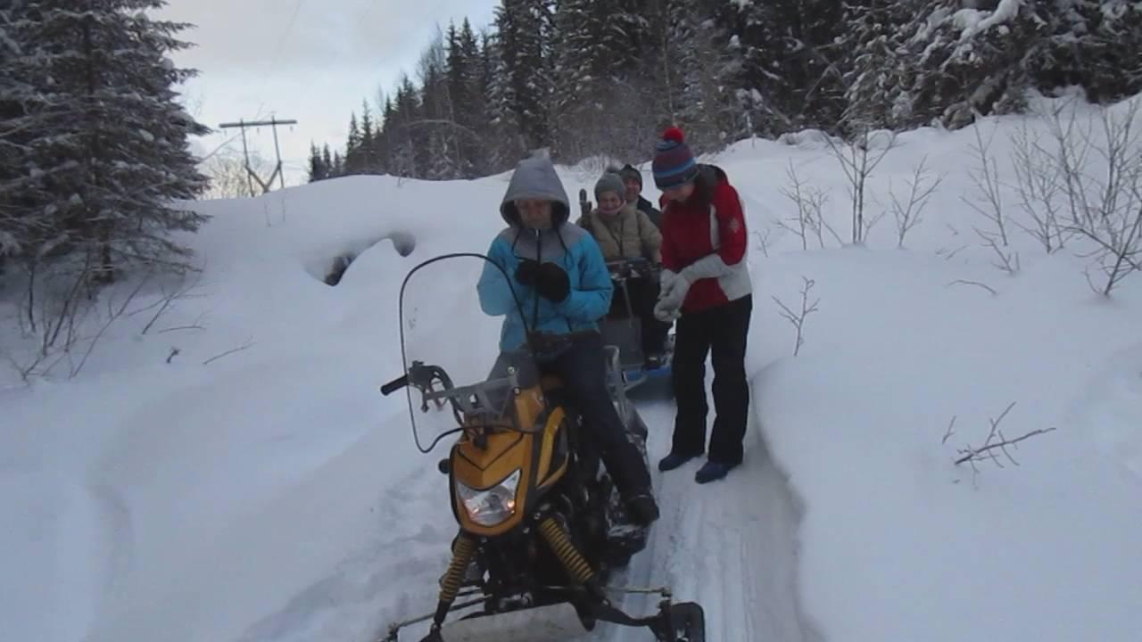 Катание на снегоходе Динго Т 150 с санями