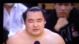 2014年3月23日 大阪場所 優勝 鶴竜力三郎関の優勝インタビュー.