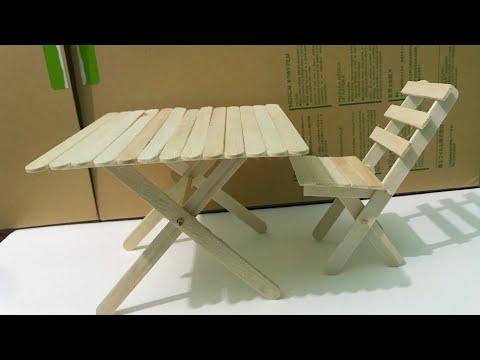DIY set of furniture from wooden ice cream sticks - children toy