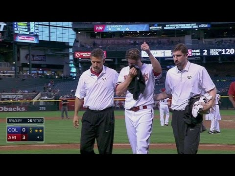 COL@ARI: Bradley exits after getting hit with liner