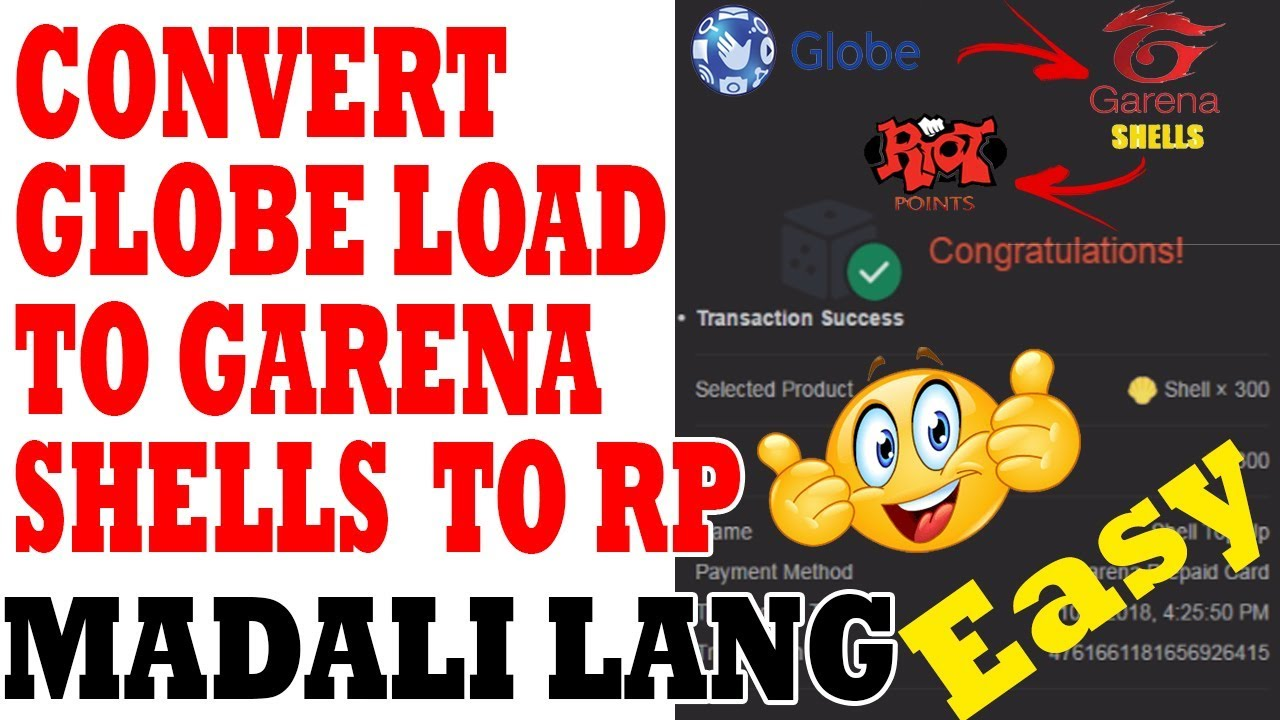 How to convert Globe Load to Garena Shells