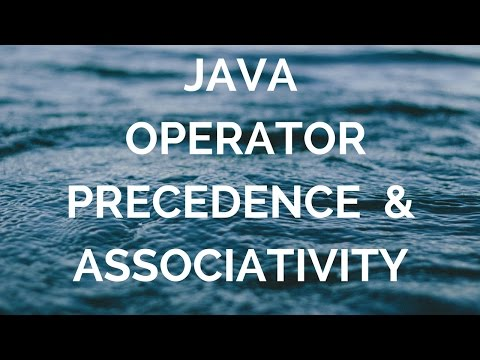 Operator Precedence And Associativity (manohar academy)