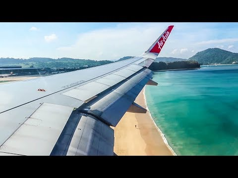 Thai AirAsia Airbus A320 Sharklets SEASIDE APPROACH and LANDING at Phuket Airport (HKT)