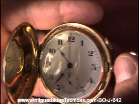 30bebc178 Precioso Reloj de Bolsillo de Oro Macizo de 18 K, con Cronómetro y Sonería.  Circa 1910