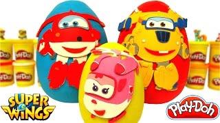3 Huevos Sorpresas de Super Wings en Español de Plastilina Play Doh